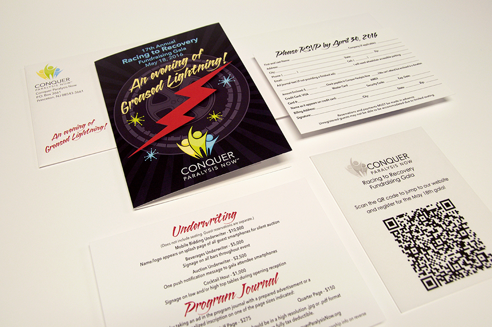 Printed invitation for fundraising gala event.
